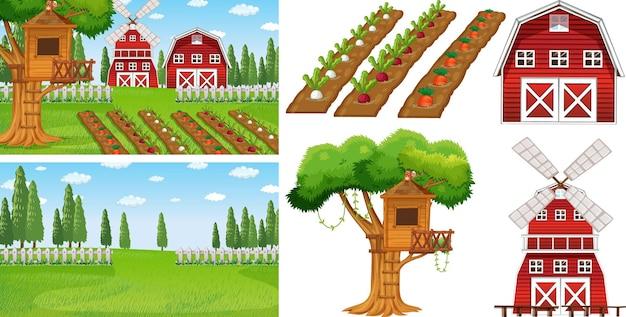 Conjunto de elementos de granja aislado con esencia de granja.
