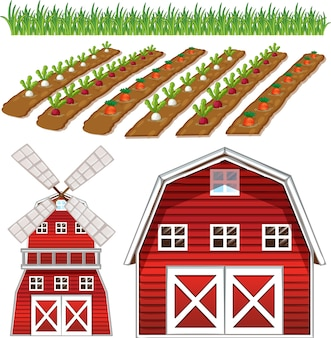 Conjunto de elementos de granja aislado sobre fondo blanco.