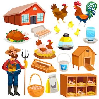 Conjunto de elementos de granja avícola