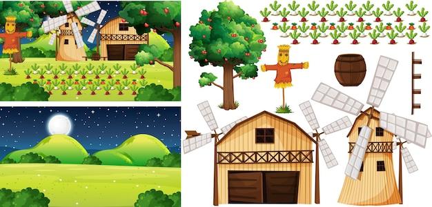 Conjunto de elementos de granja con escena de granja. vector gratuito