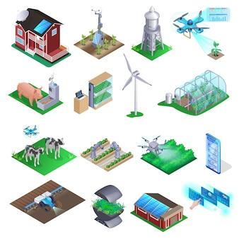 Conjunto de elementos de granja inteligente.