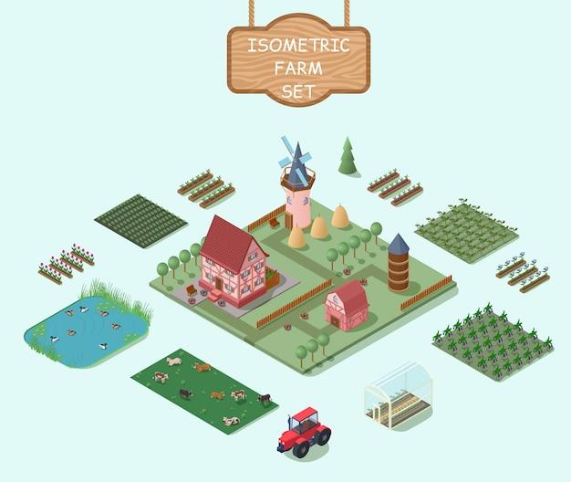 Conjunto de elementos de granja isométrica