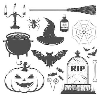 Conjunto de elementos de halloween en blanco y negro