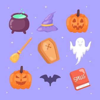 Conjunto de elementos de halloween colección dibujada a mano.