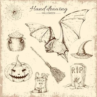 Conjunto de elementos de halloween dibujados a mano
