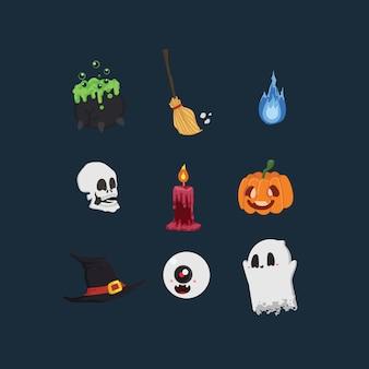 Conjunto de elementos de halloween dibujados a mano.