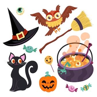 Conjunto de elementos de halloween dibujados