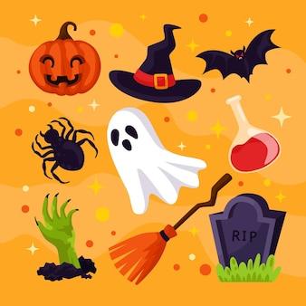 Conjunto de elementos de halloween de diseño plano