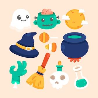 Conjunto de elementos de halloween diseño plano