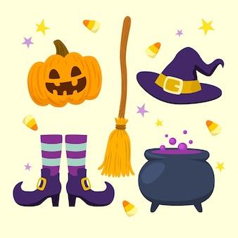 Conjunto de elementos de halloween de estilo dibujado a mano