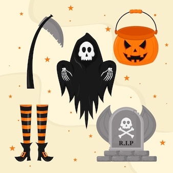 Conjunto de elementos de halloween de miedo de diseño plano
