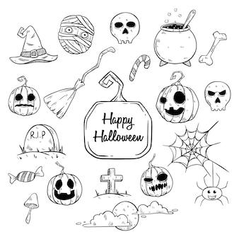 Conjunto de elementos de halloween o ilustración con estilo de dibujo o mano