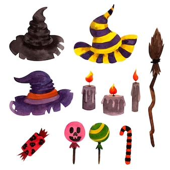 Conjunto de elementos de halloween con sombreros de brujas y velas