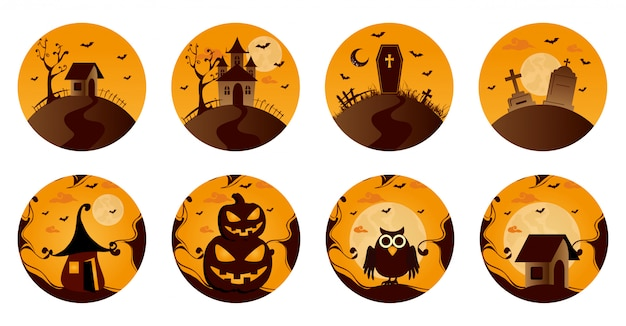 Conjunto de elementos de halloween