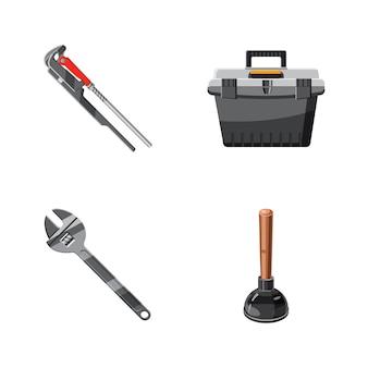 Conjunto de elementos de herramientas de baño. conjunto de dibujos animados de herramienta de baño