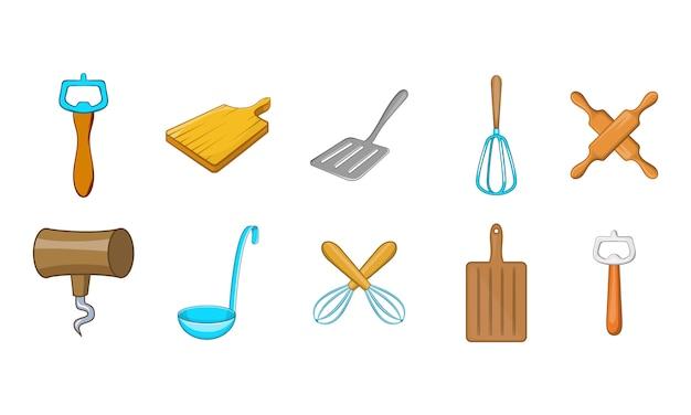 Conjunto de elementos de herramientas de cocina. conjunto de dibujos animados de elementos de vector de herramientas de cocina