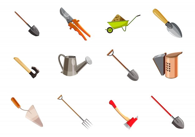 Conjunto de elementos de herramientas de jardín. conjunto de dibujos animados de herramientas de jardín