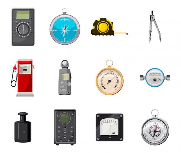 Conjunto de elementos de herramientas de medición. conjunto de dibujos animados de la herramienta de medición