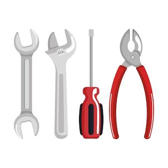 Conjunto de elementos de herramientas trabajo ilustración de vector de símbolo del día del trabajo