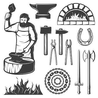 Conjunto de elementos de herrero vintage