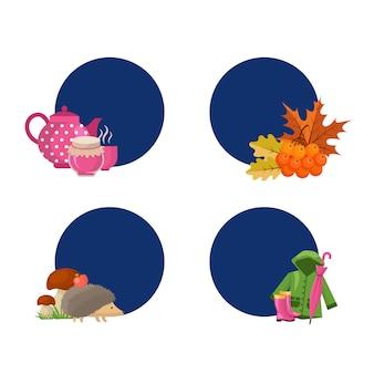 Conjunto de elementos y hojas de otoño de dibujos animados conjunto de banner de pegatinas