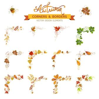 Conjunto de elementos de hojas de otoño. esquinas vintage, adornos de página y separadores. remolinos y florece. roble, serbal, arce, castaño, hojas de olmo y bellota.