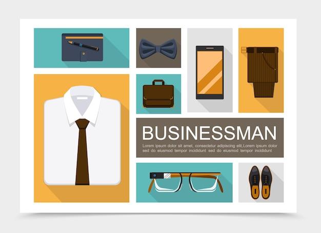 Conjunto de elementos de hombre de negocios plano con camisa pajarita bloc de notas lápiz maletín anteojos zapatos de cuero pantalones móvil aislado ilustración,