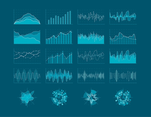 Conjunto de elementos de hud. interfaz de usuario futurista. elementos estadísticos del diagrama de infografía. ilustración
