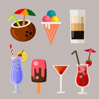 Conjunto de elementos de icono de bebida de verano