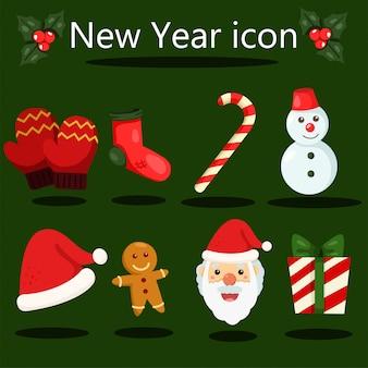 Conjunto de elementos de icono de navidad