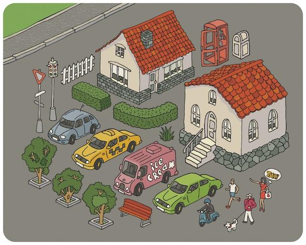Conjunto de elementos de una ilustración de la ciudad de dibujos animados