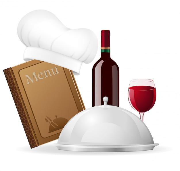 Conjunto de elementos para la ilustración de vector de restaurante