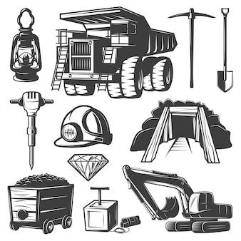 Conjunto de elementos de la industria minera
