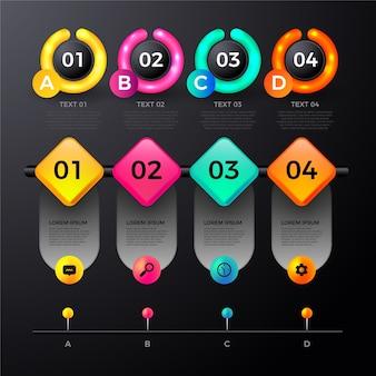 Conjunto de elementos de infografía brillante realista
