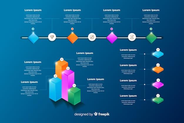 Conjunto de elementos de infografía brillante.