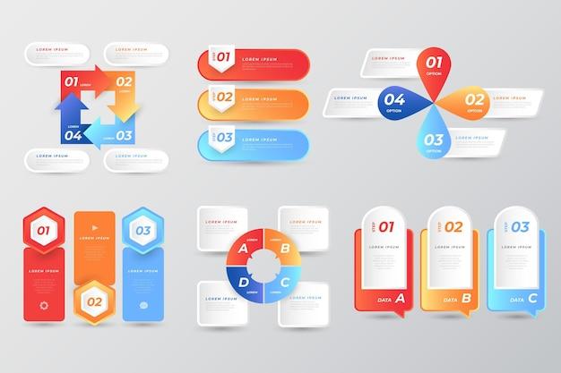 Conjunto de elementos de infografía coloridos