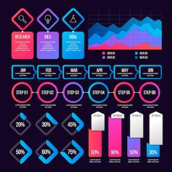 Conjunto de elementos de infografía degradado