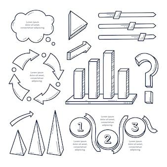Conjunto de elementos de infografía dibujados a mano