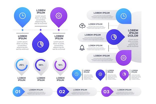 Conjunto de elementos de infografía diferentes