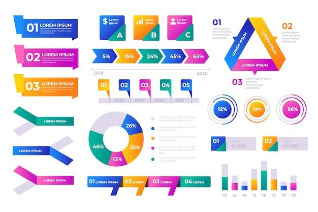 Conjunto de elementos de infografía empresarial