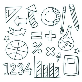 Conjunto de elementos de infografía escolar dibujados a mano