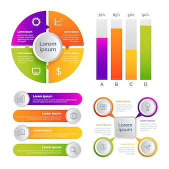 Conjunto de elementos de infografía de estilo degradado