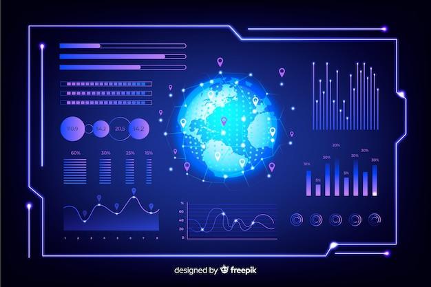 Conjunto de elementos de infografía futurista