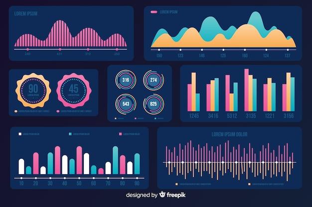 Conjunto de elementos de infografía de marketing