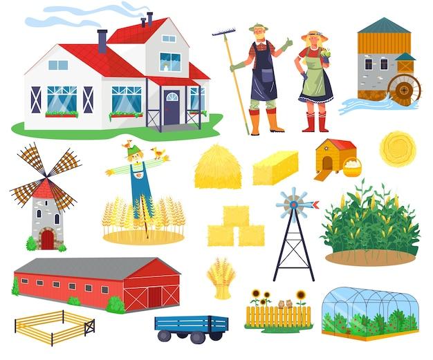 Conjunto de elementos de infografía plana de edificios y construcciones agrícolas