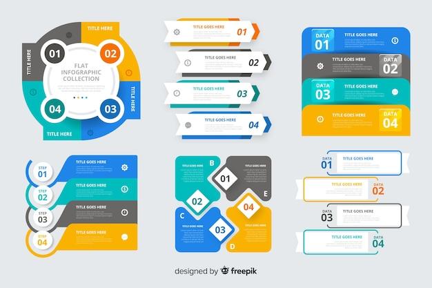 Conjunto de elementos de infografía plana