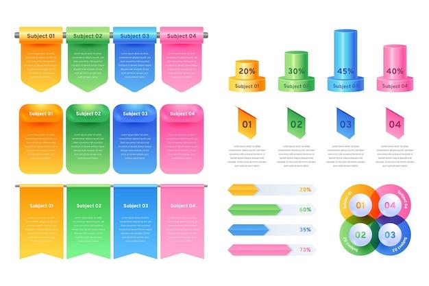 Conjunto de elementos de infografía realista