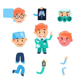 Conjunto de elementos de infografía sanitaria