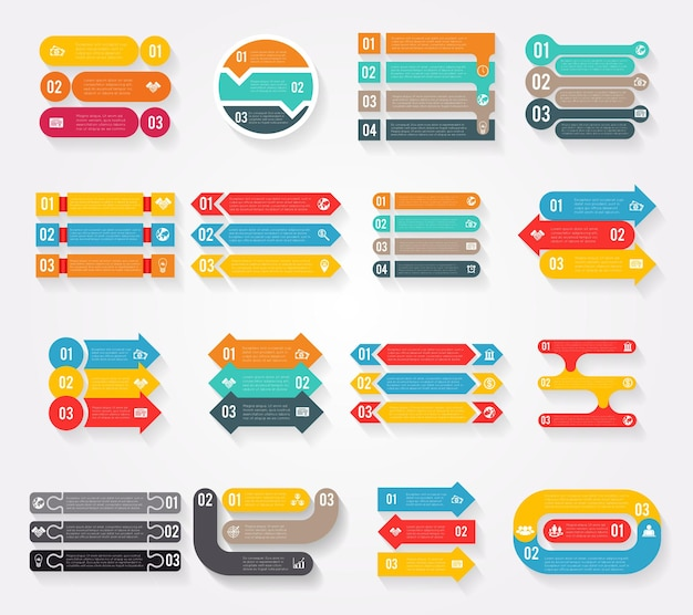 Conjunto de elementos de infografías de flechas