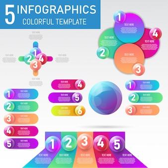 Conjunto de elementos infográficos 3d bola presentación de datos.
